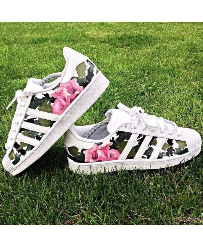 Adidas Superstar Flower Print Camo Shoes