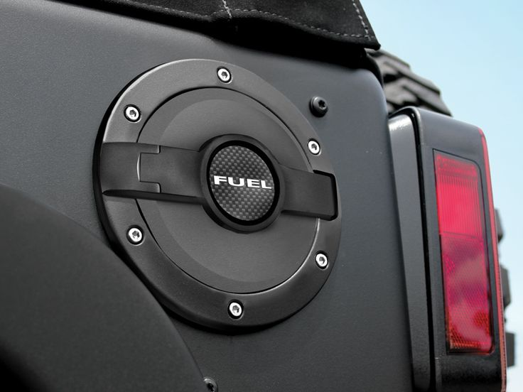 Drake Off Road™ Billet Fuel Door in Black Finish for 07-up Jeep® Wrangler JK 4-Door