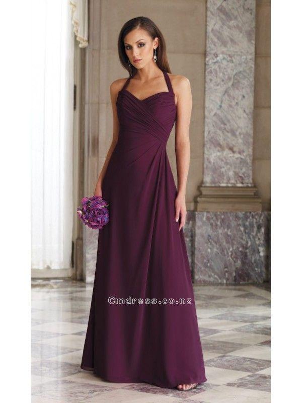 A line Halter Chiffon Floor Length Wedding Party DressesSKU: BM000127 Weddings From New Zealand