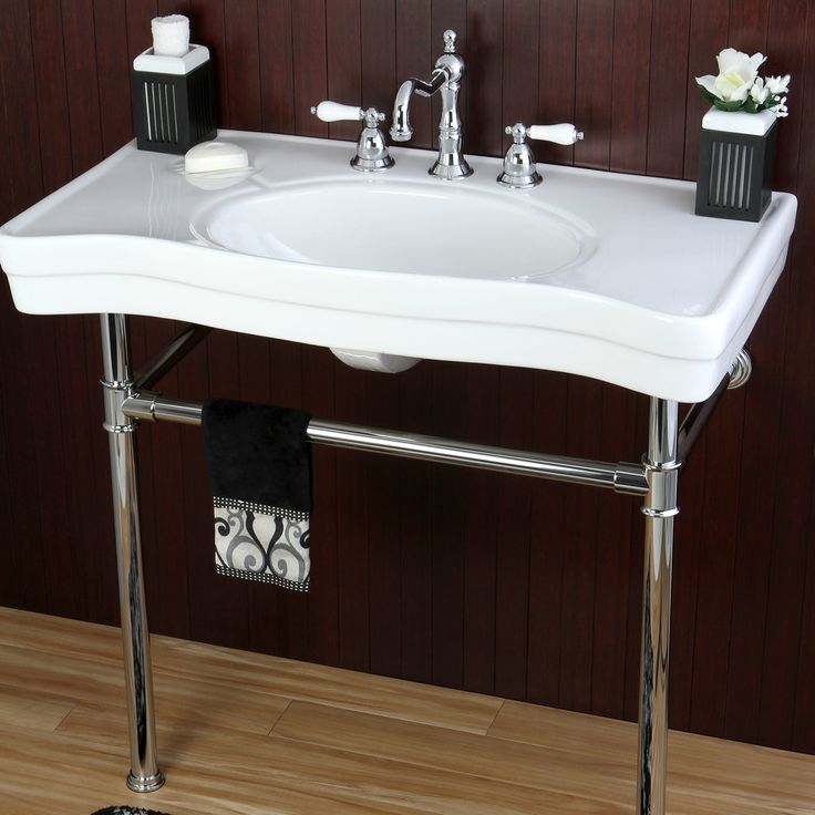 Imperial vintage 36 inch wall mount chrome pedestal for Bath sink and toilet packages