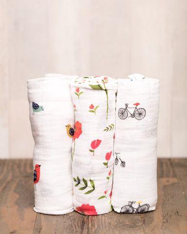 Cotton Swaddle Set - Summer Poppy