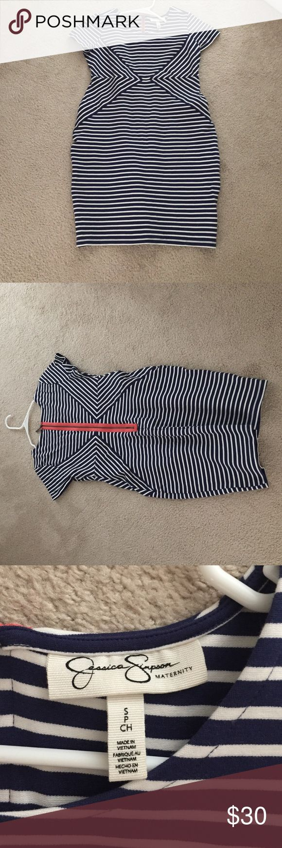 Jessica Simpson Maternity Dress - Worn Once Navy blue and white horizontal striped maternity dress with pop of coral color on the zipper in the back - WORN TWICE Jessica Simpson Dresses