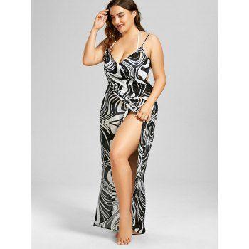 Plus Size Graphic Beach Cover-up Wrap Dress - WHITE/BLACK 2XL
