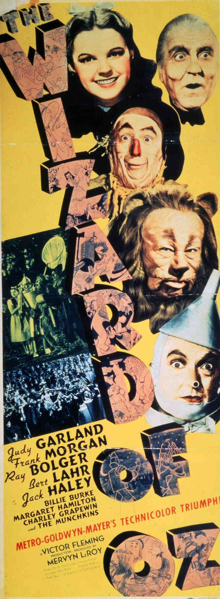 The Wizard of Oz (Insert poster featuring Judy Garland as Dorothy Gale, Frank Morgan as The Wizard, Bert Lahr as The Cowardly Lion, Jack Haley as The Tin Man and Ray Bolger as The Scarecrow.) via Turner Classic Movies