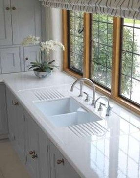 Lavastone countertops and I love the slotted drying stations.