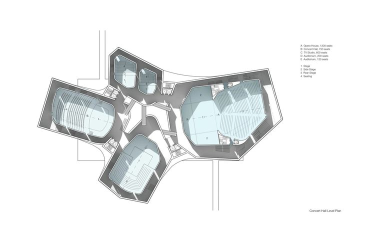 Hangzhou Normal University Cangqian Performing Arts Center, Art Museum and Arts Quadrangle / Steven Holl Architects,concert hall plan