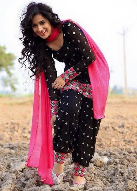Z Fashion Trend: BLACK AND PINK COTTON DESIGNER PATIALA SALWAR SUIT...