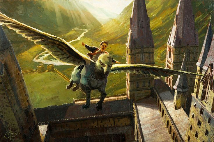 To purchase a print or the original painting, email chris@christopherclarkart.com.   This is an original Harry Potter oil painting by Christopher Clark, fine artist. Here is Harry's first flight on Buckbeak from the Prisoner of Azkaban. This was a challenging perspective piece, to capture the architecture of Hogwarts from this high angle, and the receding Scotland landscape, all tilted at an angle to accentuate the feeling of being off the ground.  Oil paint on wood panel.   I am available…