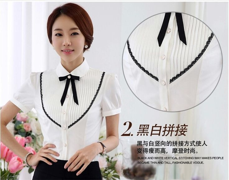 2015 летний новый женщин с бантом рукав рубашки мода Большой размер тонкий кружевные заплатки шифон блузка формальные рабочая одежда топы купить на AliExpress
