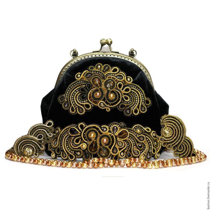 """Купить Комплект """"GATSBY"""" - черно-золотой, сумочка с фермуаром, сутажная техника, сутажный браслет"""