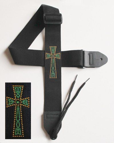 "Legacystraps Christian RS Guitar Strap with Metal Studded Celtic Cross W/Emerald Green Center by Legacystraps. $19.95. This 2"" cotton guitar strap is one of our best selling items. Soft cotton fabric looks and wears great. Acoustic tie string included. Durable Synthetic Leather Ends This strap features a Metal Rhinestud Celtic Cross design in Gold and Green with an Emerald Green Center Stone on a Black Strap."