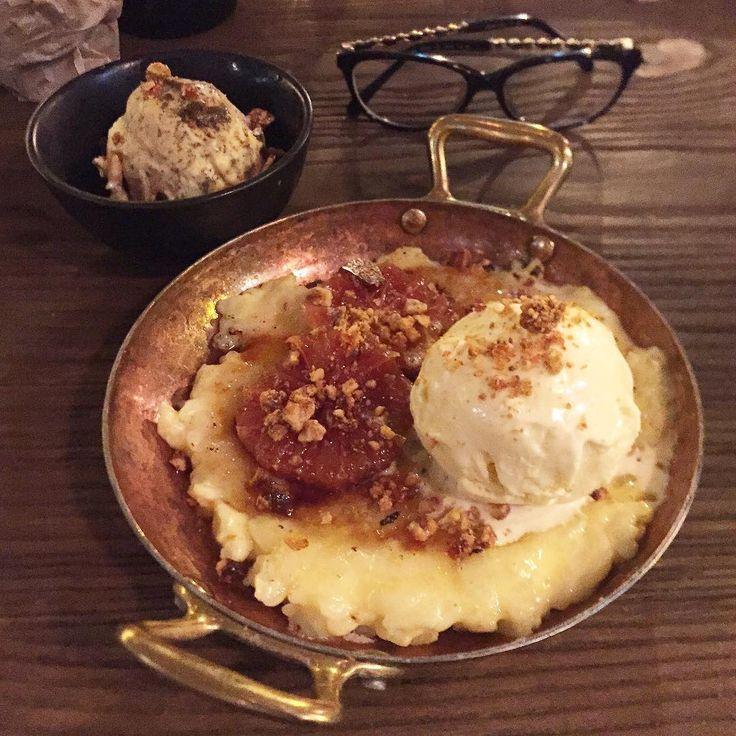 "Cathy Xu on Instagram: ""Brûlée rice pudding and cinnamon icecream! (Also got an extra scoop of treacle icecream )  #sydneyeats #ricepudding #icecream #dessert #erskinevilla"""