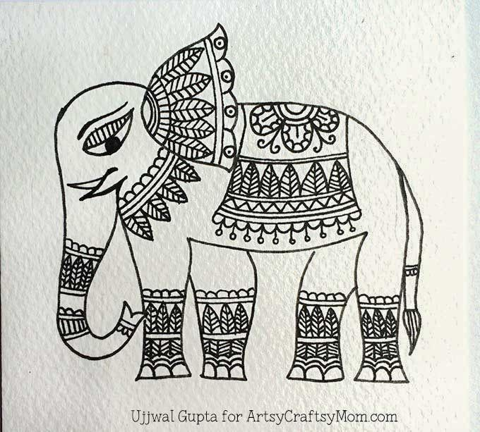 Madhubani elephant bookmark Step-4