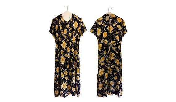 Vitnage 90s Floral Dress 1990s Dress Long Floral Dress Summer Dress #thevillevintage