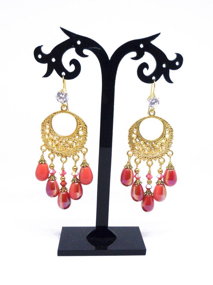 Coral Orange Chandelier Earrings, Orange Earrings, Coral Jewelry, Golden Earrrings, Czech Teardrops, Teardrop Earrings, Filigree Earrings by CRIBIJOUX on Etsy #coral #chandelier #bijoux #creazioni #fantasia #beads #glass #swarovski #crystal #cristaux #boucles #earrings #jewels #filigree #golden #corallo