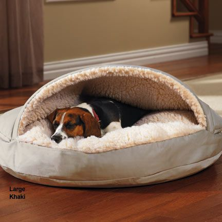 """Cozy Cave Dog Bed  This dog bed has a built-in blanket to warm and comfort pets *Dog bed has a cave-like design, ideal for dogs that like to burrow into the covers *Bed cover is machine washable   XLarge 45"""" dia , maybe in Olive  9N-36488,   $89.95  in Olive for the LR    -09.04.2015"""