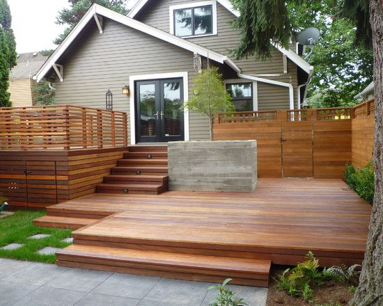 modern home exterior design levelled wooden deck
