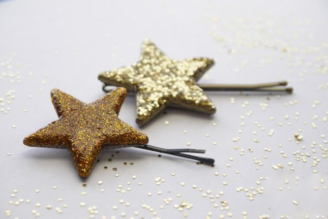 Add some sparkle to your 'do with these DIY glitter hair pins.