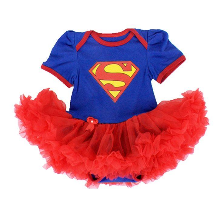 Blu superman costumi del bambino del merletto di petti romper dress 1st birthday outfit bebe tuta neonato vestiti della ragazza infantile abbigliamento