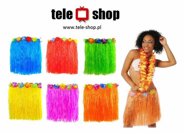 http://tele-shop.pl/ SPÓDNICA HAWAJSKA. Spódniczka wykonana z pasków. W pasie zapinana na rzep. Dodatkową dekorację stanowią kolorowe kwiaty przy pasku.