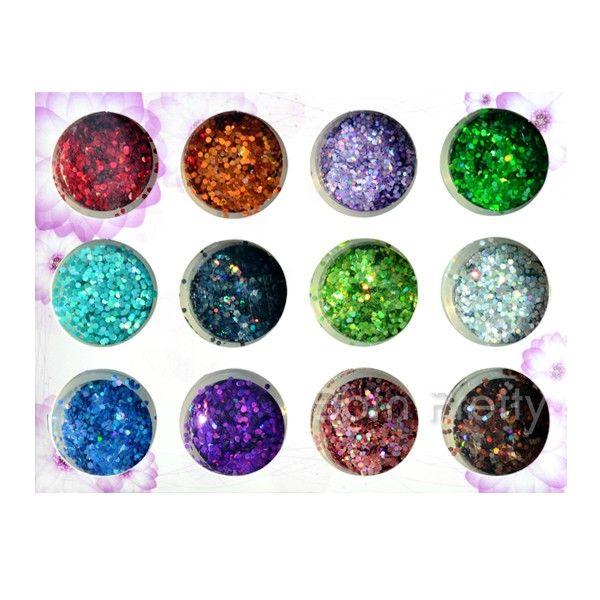 $6.85 12 Colors Nail Art Shiny Hexagonal Glitter Powder Sheets Tips Tool - BornPrettyStore.com