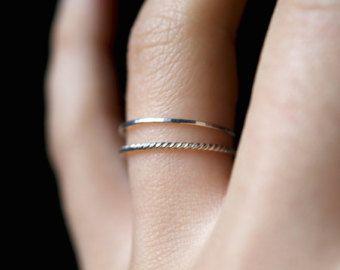 14 K Rose Gold vulling Twist stapelen ringen ring door hannahnaomi