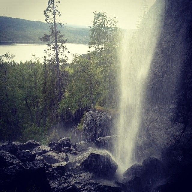 Brudslöjan, a waterfall along Vindelälven in Sorsele, Swedish Lapland