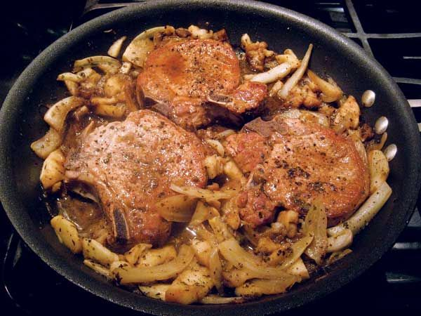 Organic Pork Chops with Braised Apple, Fennel and Sage. Rubbed sage ...