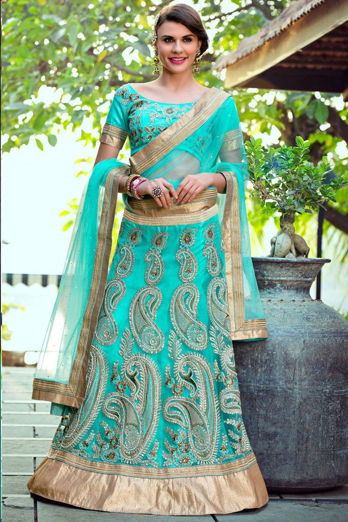Allure everyone around in this enigmatic sky blue color designer 3 piece lehenga choli. This charming net fabric chaniya choli is soothingly garlanded with heav