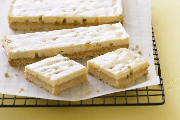 Passionfruit slice. A condensed milk recipe that is not ott. C milk, 100g butter, lemon, passionfruit.