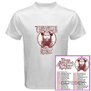 Chris Stapleton All American Roadshow tour dates sep-nov 2017 white tees; Material 100% cotton, Basic style; Short sleeve;