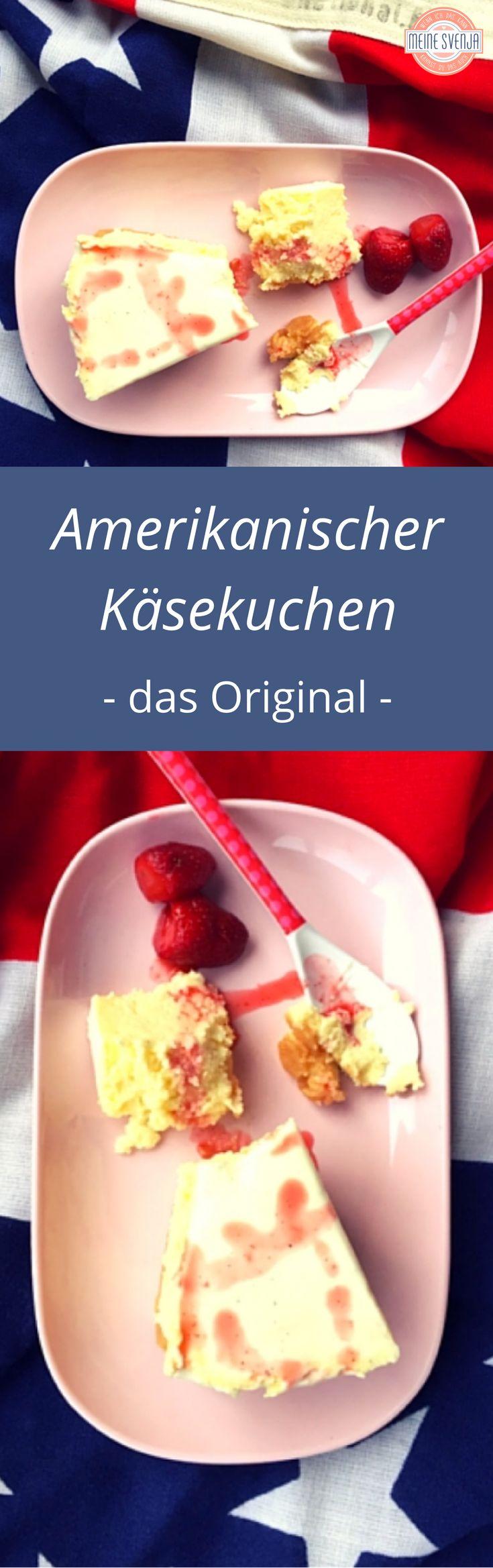 Amerikanischer Käsekuchen mit Erdbeersauce - das Original. Was für ein Genuss. Die Schritt für Schritt Rezepte mit genauer Anleitung findet ihr auf meinem Blog: http://www.meinesvenja.de/2015/11/19/original-amerikanischer-kaesekuchen/