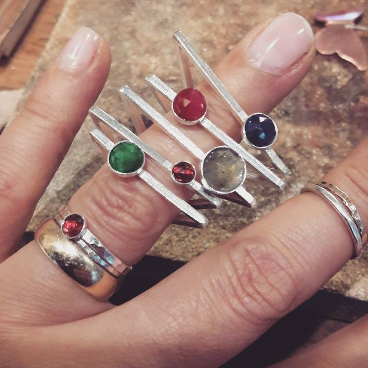 "32 Likes, 2 Comments - Cristina Masnitz (@cristinamasnitz) on Instagram: ""#triangle #rings #silverring #colors #saphire #ruby #emerald #labradorite #silver #jewelry…"""