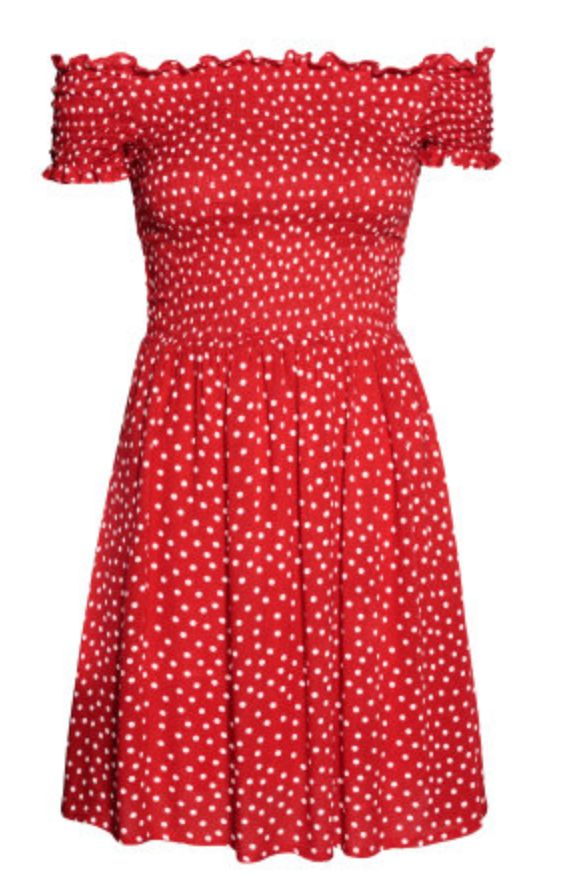 Off the shoulder red polka dot dress from H&M - $24.99!