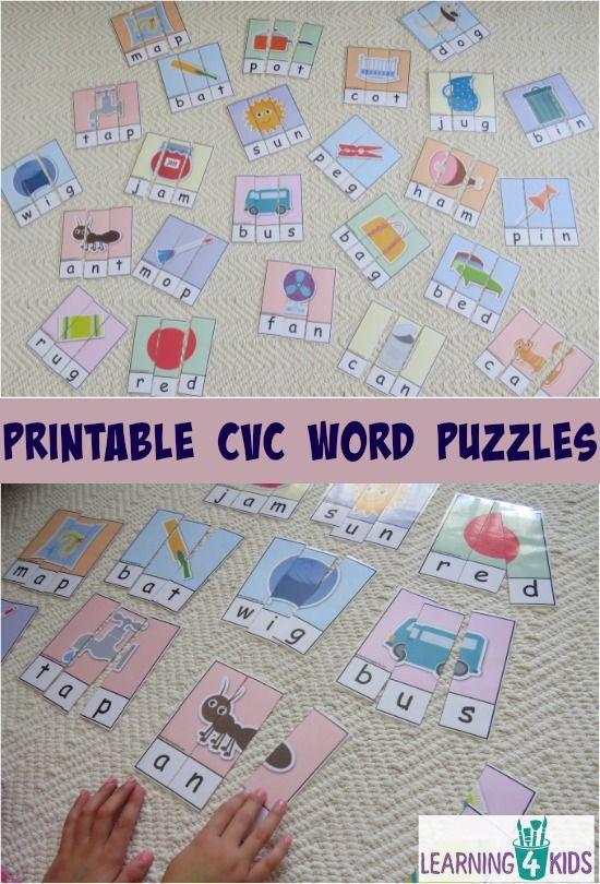 Printable CVC Word Puzzles - part of a CVC word bundle activity pack
