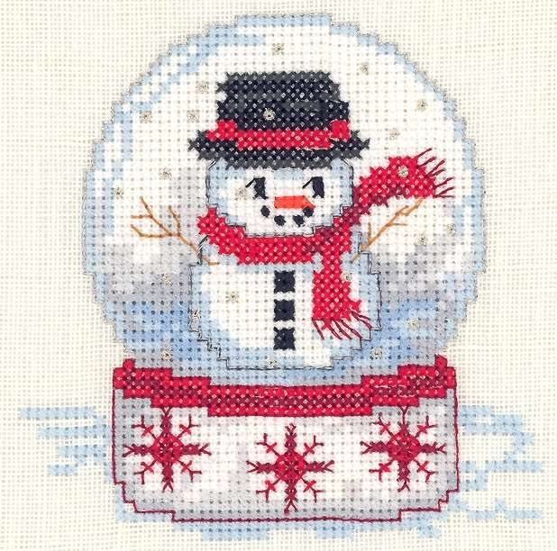 Cross stitch snow globe