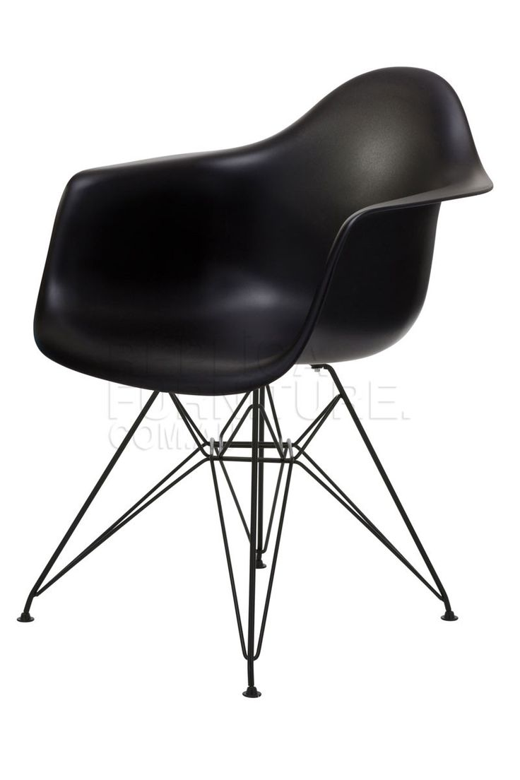 Replica Charles Eames Arm Chair with Black Steel Legs -- This Replica Eames Arm Chair is inspired by the classic mid 20th century designs of Charles Eames. This funky modern designer arm chair is of polypropylene, with steel wire legs that are finished in a matt black powder coat.  Our replica Eames Arm Chairs make a perfect end chair for larger dining tables, or for a more generous dining chair. With a soft waterfall seat edge and arm rests this chair provides great comfort.   Available in…