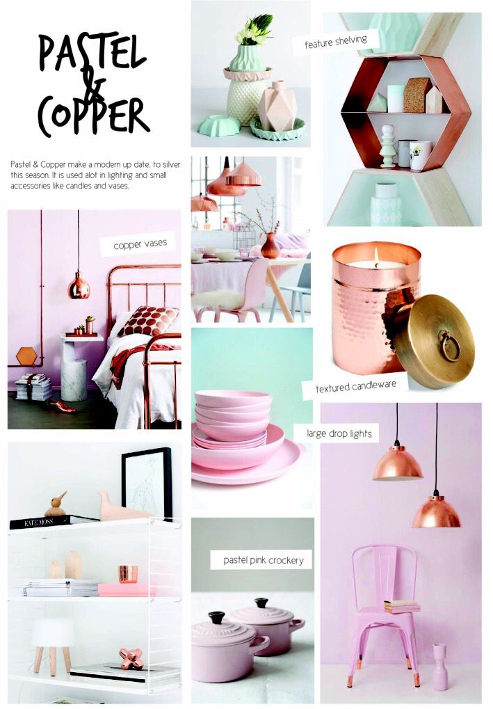 SS15 interior design. Homewares Pastel & Copper