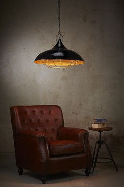 Bistrol - a large cage pendant with a black enamel finish and a gold coloured interior.  Height: 360mm  Diameter: 590mm