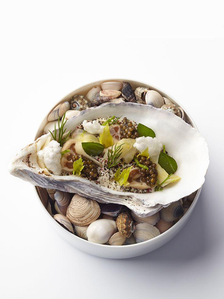 Gillardeau oyster poached and marinated raw, calf's head, fennel, and salicornia (glasswort) by chef Sven Elverfeld. © Götz Wrage/The Ritz-Carlton Wolfsburg