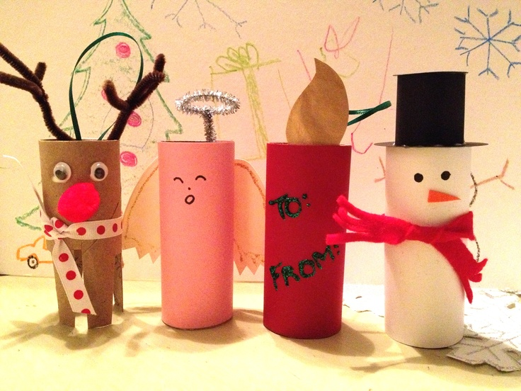 Art co-op project: toilet paper roll characters - reindeer, angel, snowman, candle. Can add ribbon and use as ornaments or gift tags, or they stand up as decorations.
