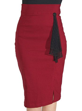 Cranberry High Waist Pencil Skirt at PLASTICLAND... I love the little dangling hanky!