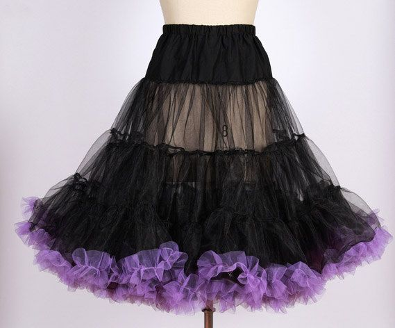 50s Vintage rockabilly  pinup black with purple trim net  petticoat /tulle underskirt for swing dress 20130081