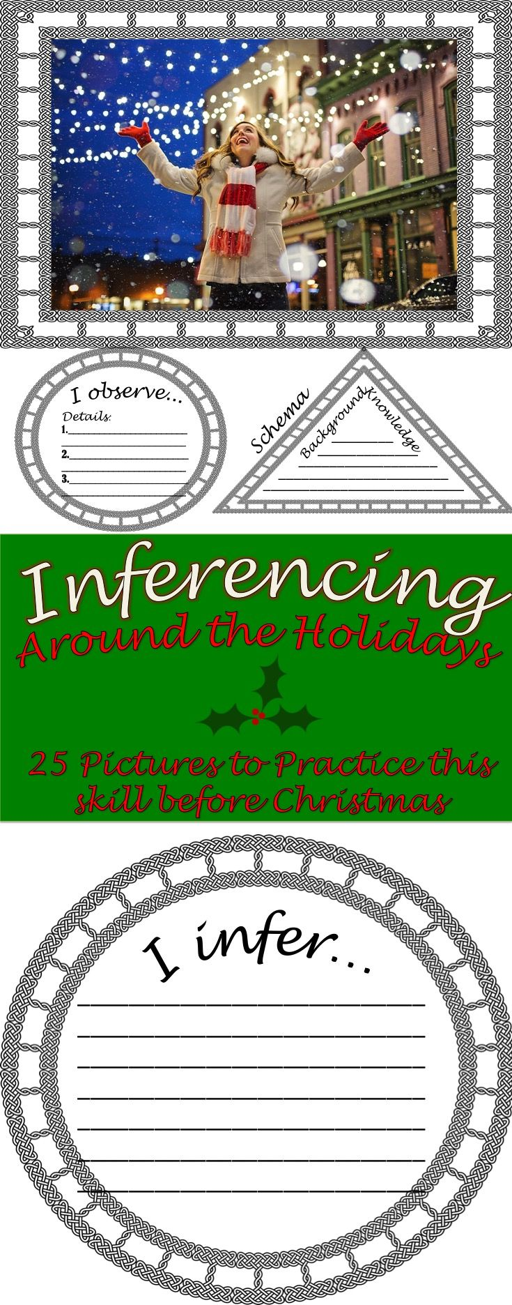 Inferencing Pictures: 25 Pictures with Graphic Organizers to practice  Making Inferences before Christmas #education