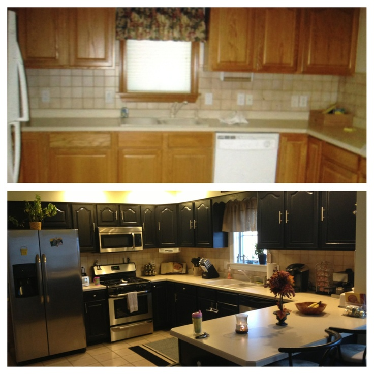 Staging Kitchen Counters: Painted Oak Cabinets To New Black By Valspar In Semi Gloss