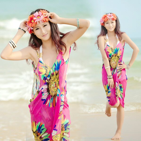 Via Fedex/EMS, High Quality Women Chiffon Sarong Pareo Bikini Cover-Up Flower Beach Dress Swimwear Wrap Skirt Cover, 240PCS US $606.10 CLICK LINK TO BUY THE PRODUCT  http://goo.gl/oYWEYs
