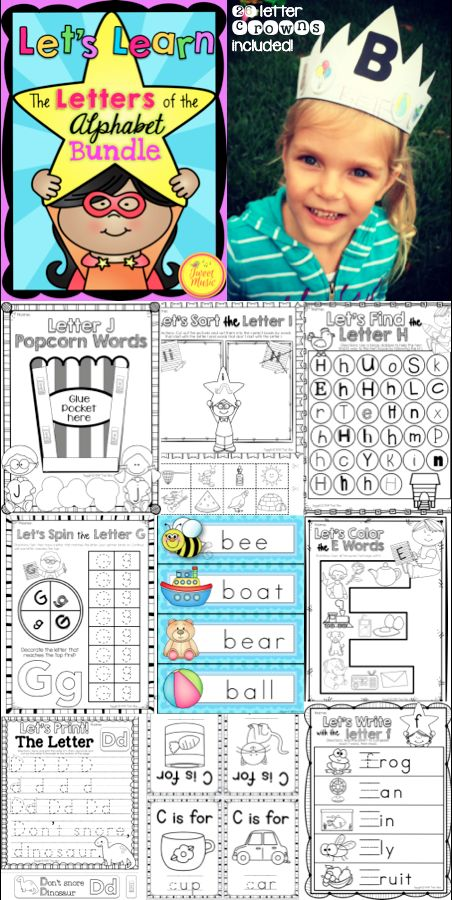 Let's Learn The Letters of The Alphabet A-Z! 600+ pages of letter sound fun, including letter crowns, letter bracelet, printing practice pages, letter sound coloring pages and much much more! $