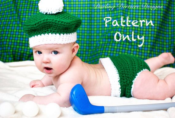 Golf Baby Crochet Diaper Cover and Hat PATTERN: Clothes for Baby Boy, Baby Girl, and Newborn. $5.49, via Etsy.