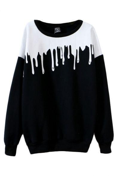 Color Block Round Neck Long Sleeve Sweatshirt - Beautifulhalo.com