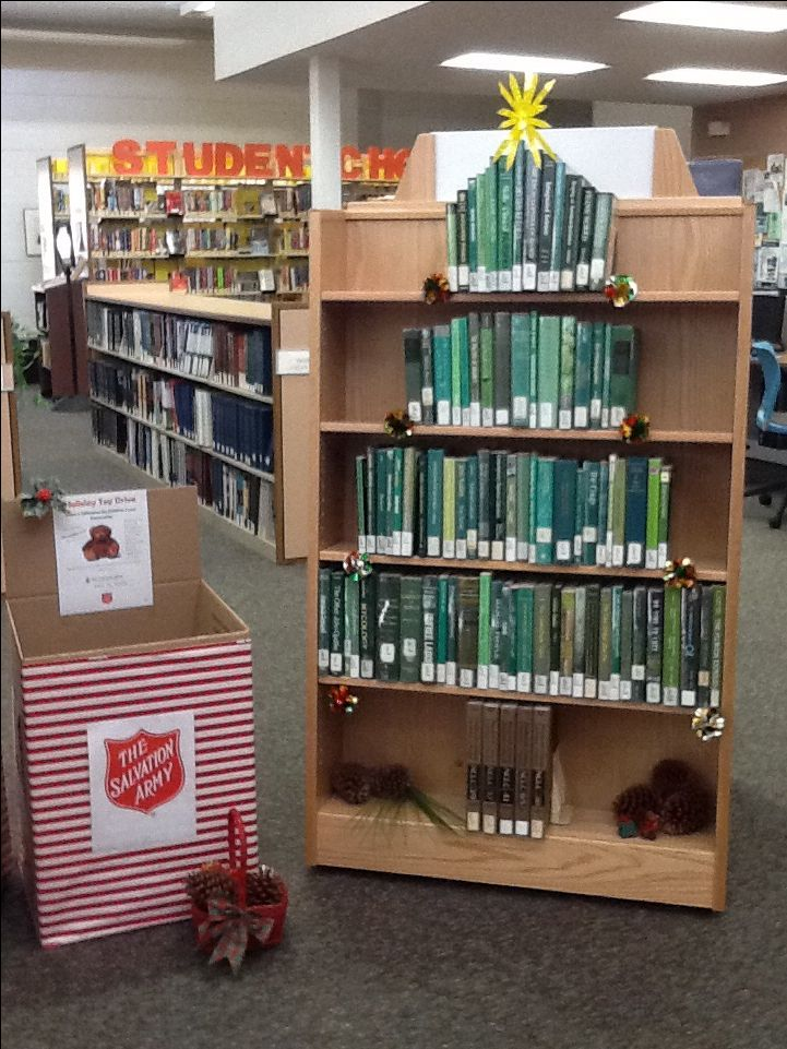 Great Idea For A Library Holiday Display, And Much Easier Than Stacking  Books Into A Three Dimensional Book Tree!